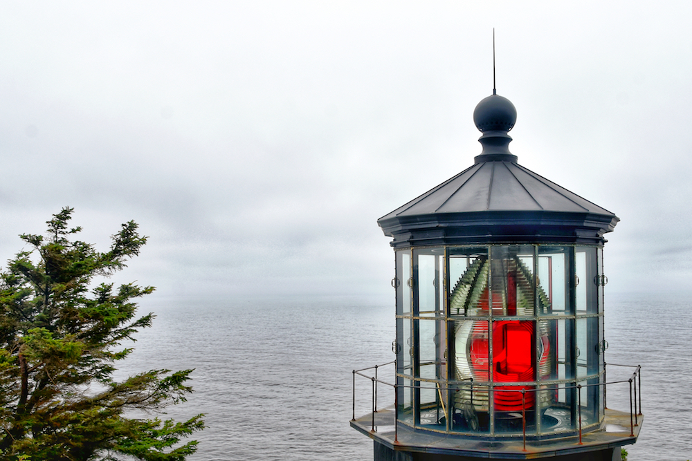The Cape Meares Lighthouse, just south of the Tillamook Bay.